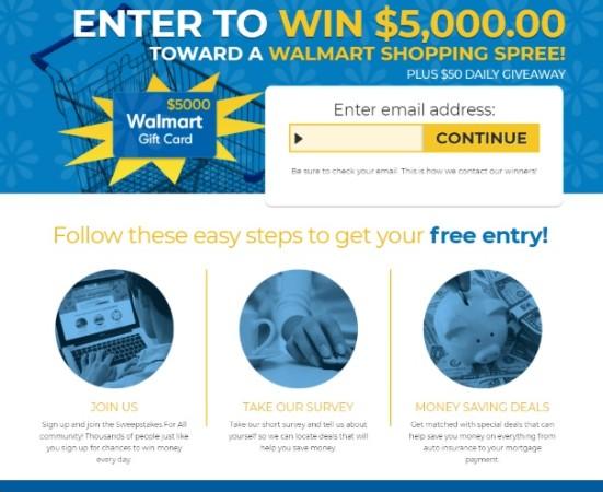 Get a $5000 Walmart Gift Card