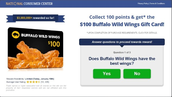 Get $100 to Spend at Buffalo Wings Now!