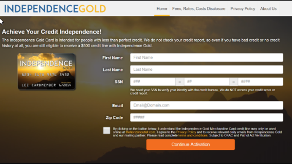 Apply for the Independence Gold Credit Card!