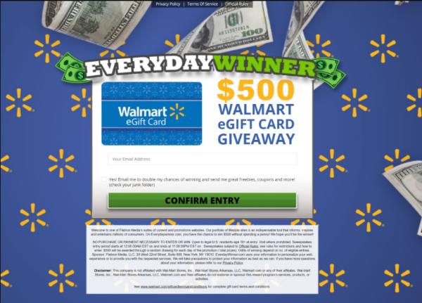 Get a $500 Walmart EGift Card!